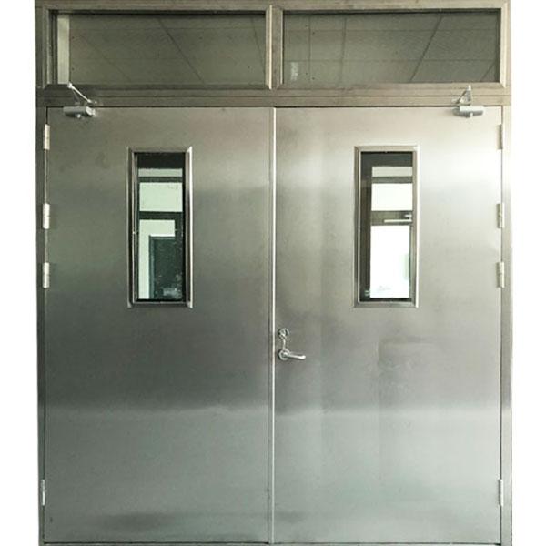 定制超大甲级304不锈钢防火门工厂车间全板门防火玻璃门包过验收
